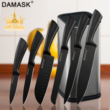 Damask Chef Kitchen Knife Set Stainless Steel Knives 6PCS & Stand Holder Multi-functional Cooking Accessories