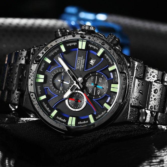 Relojes deportivos TEMEITE a la moda, 3 subdiales para hombre, 6 manos, calendario, relojes de pulsera de cuarzo, marca superior, reloj de acero completo de lujo resistente al agua