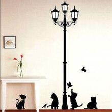 Смешные милые кошки Наклейки на стену украшения дома дети Спальня кафе на стены Животные плакат adesivos де Паредес обои