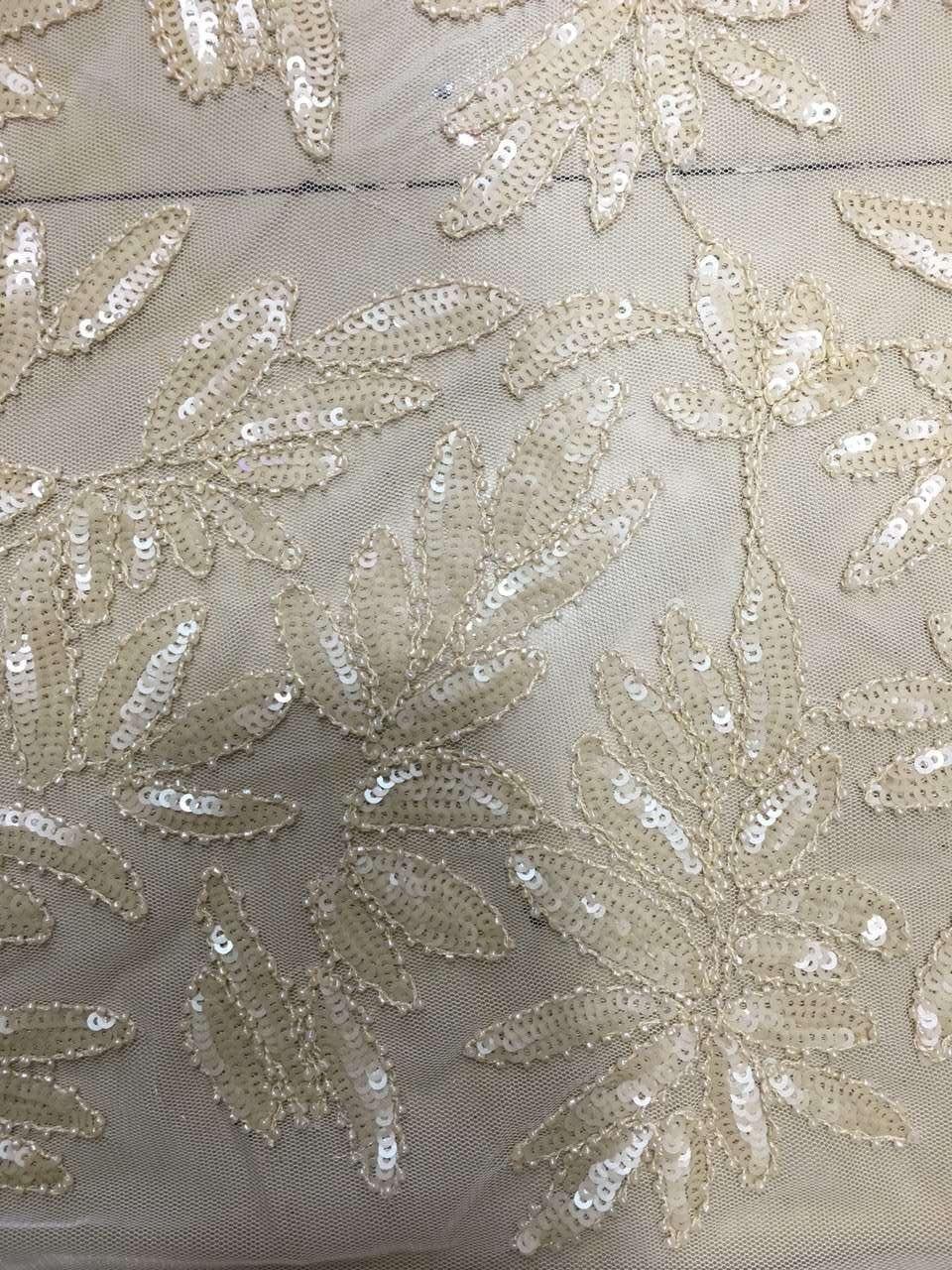 Nouveauté dentelle africaine française blanc cassé avec paillettes et perles de verre nigéria style Tulle dentelle tissu pour tissu de mariage