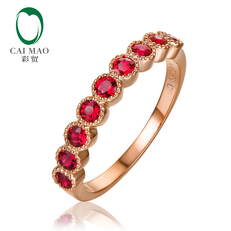 Half Eternity Antique 0.75ct Round Cut Bezel Ruby 14k Rose Gold Engagement Wedding Band antique rose