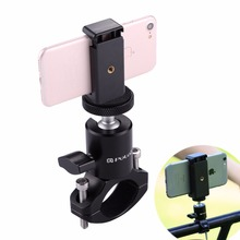PULUZ Aluminum Alloy Mini Bicycle Phone Holder For Iphone Samsung Xiaomi Phones Bike Frame Mount With ball head For Gopro Hero justone handheld retractable aluminum alloy monopod mount for dlsr iphone samsung deep pink