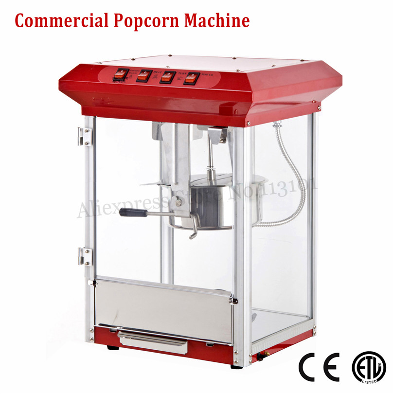 Commercial Popcorn Machine Electric Corn Popper Red Color CE Approval 220V 5kg/hour 1175W