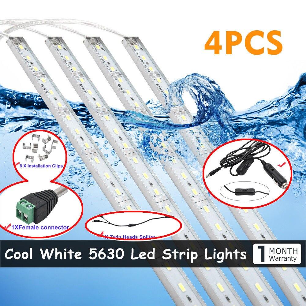 4x 50cm LED Waterproof 5630 Strip Light Bar Camping Caravan Car Boat Van & Clips