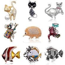 Rinhoo – broche en forme d'animal pour femmes, nouvelle broche Vintage, mignon, chaton noir, strass, émail, bijoux, cadeau