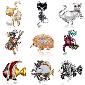 Rinhoo New Vintage Animal Brooch Cute Elegant Black Kitten Rhinestone Enamel Animal Brooch Pin For Women Brooch Jewelry Gift