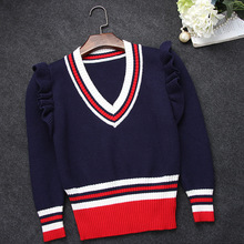 Boutique G with V collar ruffles shoulder pullover sweater agaric slim waist stitching stripe wool pullovers
