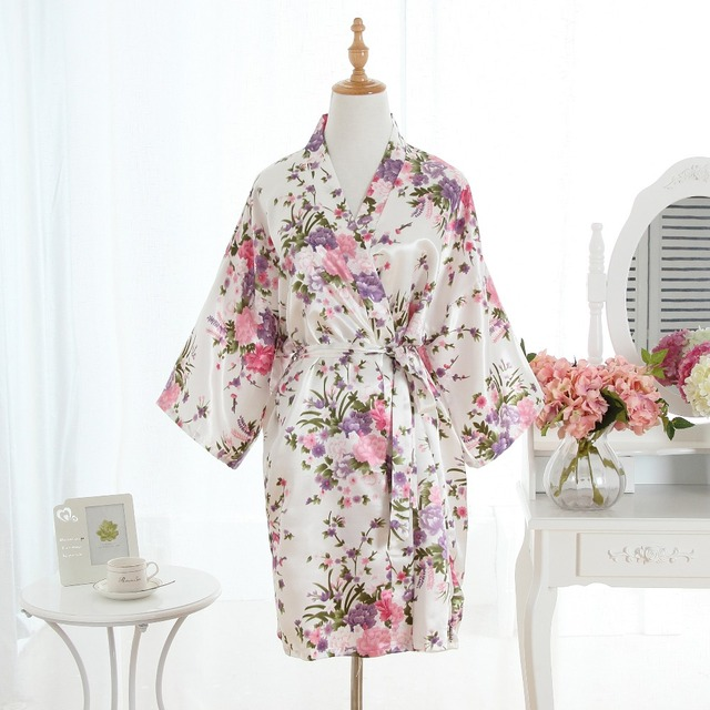 Satin Robe Floral Bathrobe Short Kimono Robe Bath Robe Fashion Dressing Gown For Women Bridesmaid Robe Cherry Modeling Pajamas-in Robes from Women\'s ...