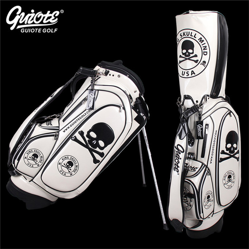 [2 Colors] King Skull Golf Stand Bag Pu Leather Golf Carry Bag With Rainhood Embroidery Design 8-way 9