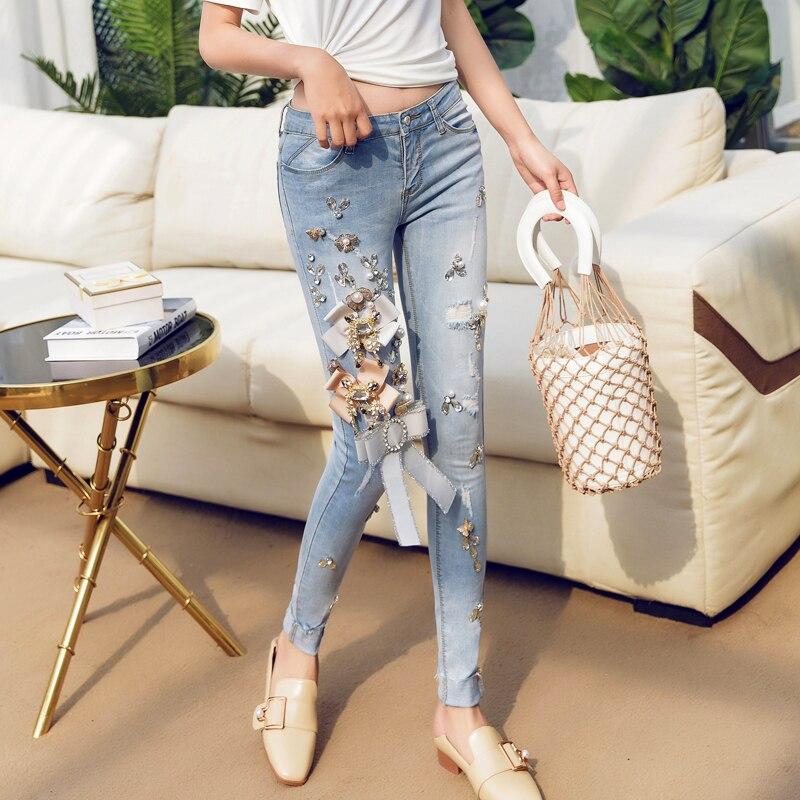 2018Fashion Jeans Women Pencil Pants Diamond Jeans Slim Elastic Skinny Pants Trousers White Hole Cotton Stretch Lady Jeans A515