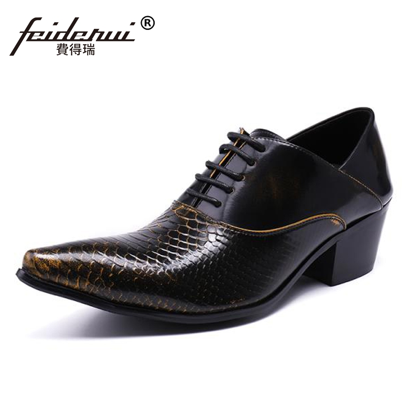 Plus Size Black New Vintage Pointed Toe Lace up Man Oxfords Genuine Leather High Heels Alligator Runway Party Men