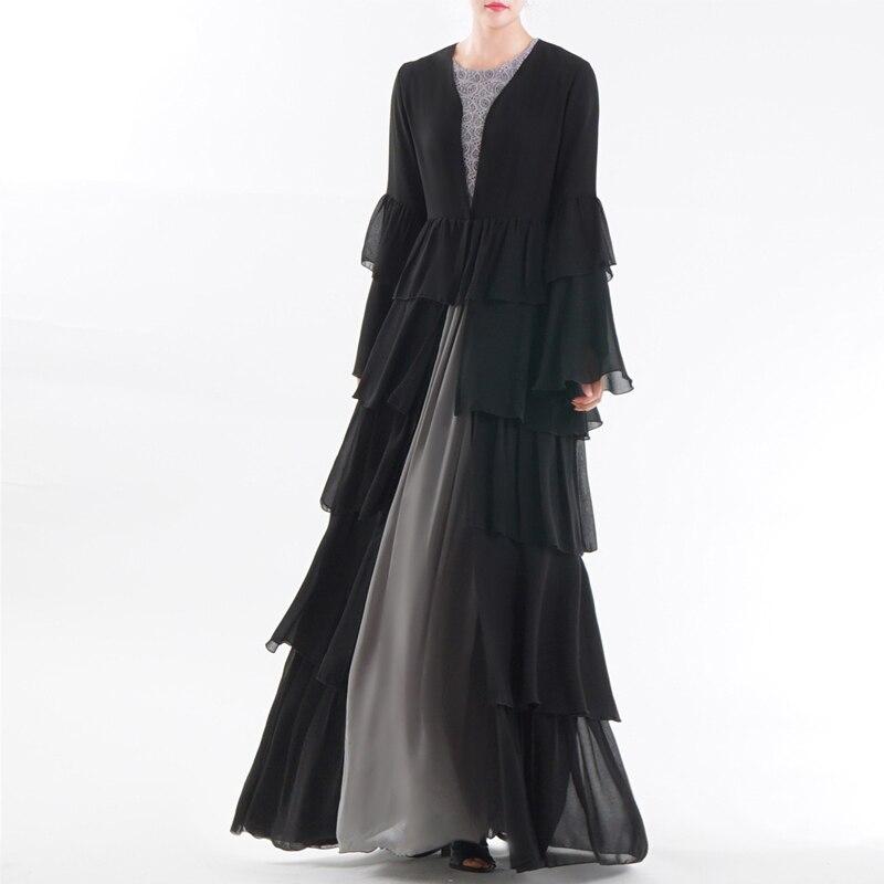 UAE Abaya Dubai Kaftan Malaysia Ruffle Pleated Chiffon Kimono Cardigan Muslim Hijab Dress Women Dubai Turkish