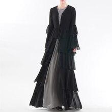 בתוספת גודל שיפון העבאיה דובאי קימונו קרדיגן קפטן מוסלמי חיג אב שמלת נשים Robe Femme תורכי האיסלאם בגדי קטאר עומאן