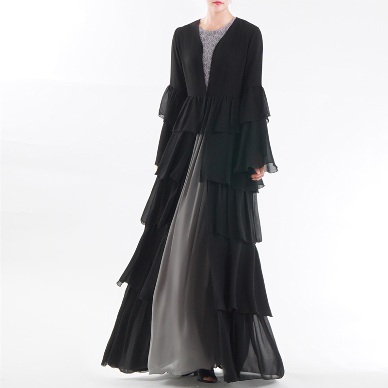 Black Cardigan Abaya Dubai Kimono Kaftan Malaysia Pleated Chiffon Muslim Hijab Dress Women Qatar Omani Turkish Islamic Clothing