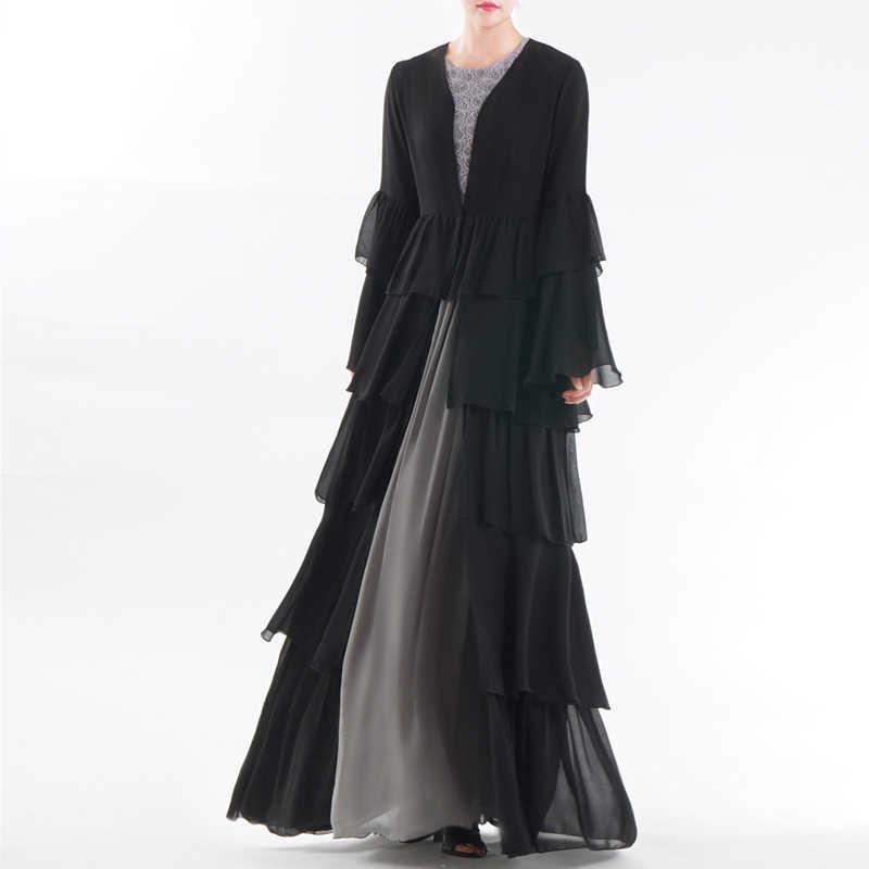 Hitam Cardigan Abaya Dubai Kimono Kaftan Malaysia Lipit Chiffon Muslim Jilbab Wanita Qatar Oman Islam Turki Pakaian