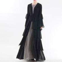 Plus Größe Chiffon Abaya Dubai Kimono Strickjacke Kaftan Moslemisches Hijab Kleid Frauen Robe Femme Türkischen Islam Kleidung Katar Oman