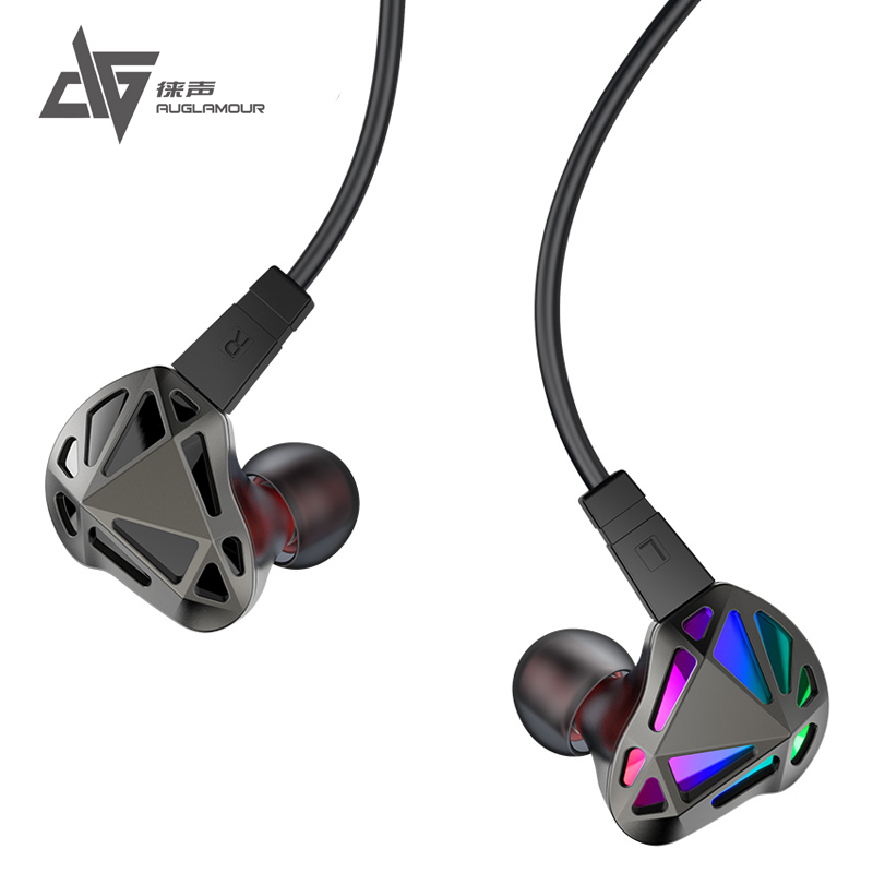Original AUGLAMOUR RT-1 Hybrid In Ear Earphone 1BA+1DD Metal HiFi Bass Sport Earphones Headset With Detachable Cable 2016 newest auglamour rx 1 in ear earphone flat head plug high quality full metal earbud headset for iphones android mp3 mp4