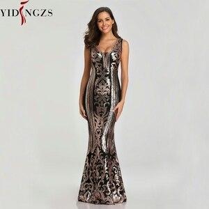 Image 2 - YIDINGZS חדש ואגלי V צוואר פאייטים המפלגה לבוש הרשמי שרוולים סקסי ארוך ערב שמלות שחור זהב YD086