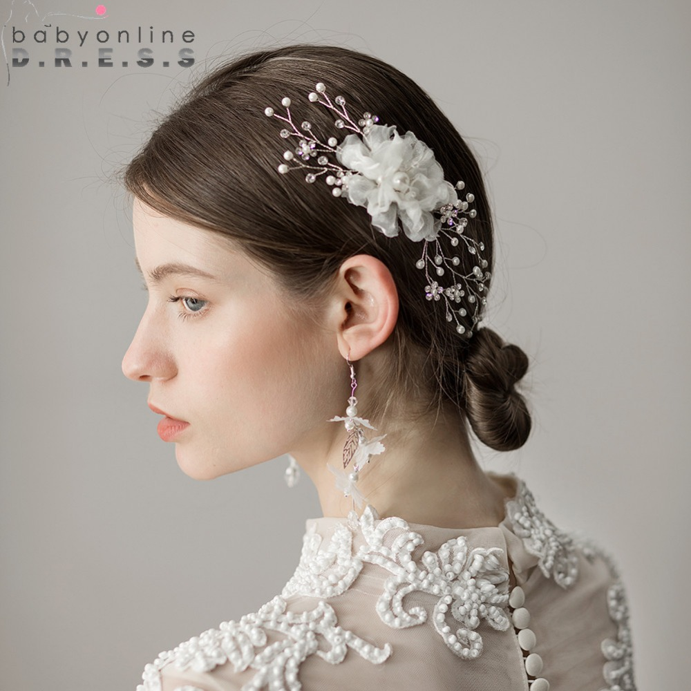 us $10.49 30% off|2019 tulle flower beaded comb bridal headwear wedding hair accessories clips metal pearl tiara drop hairpin clips headband-in bridal