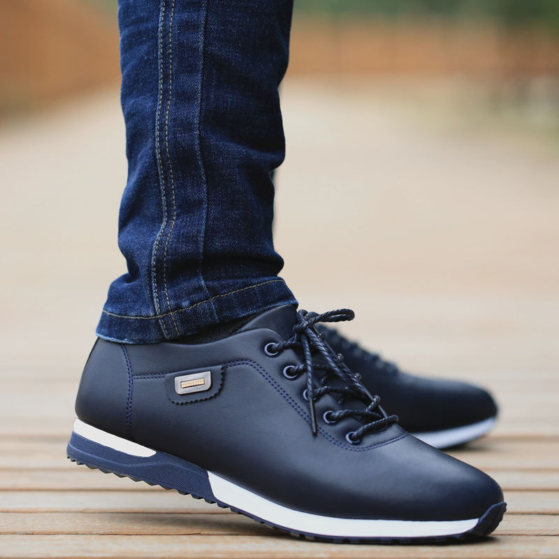 <font><b>Men's</b></font> PU Leather Business Casual <font><b>Shoes</b></font> for Man Outdoor Breathable Sneakers Male Fashion <font><b>Loafers</b></font> Walking Footwear Tenis Feminino image