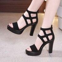 Big Size 32 43 Block Heels Platform Sandals Woman Shoes Summer 2019 High Heels Gladiator Sandals Women Sandals for Party