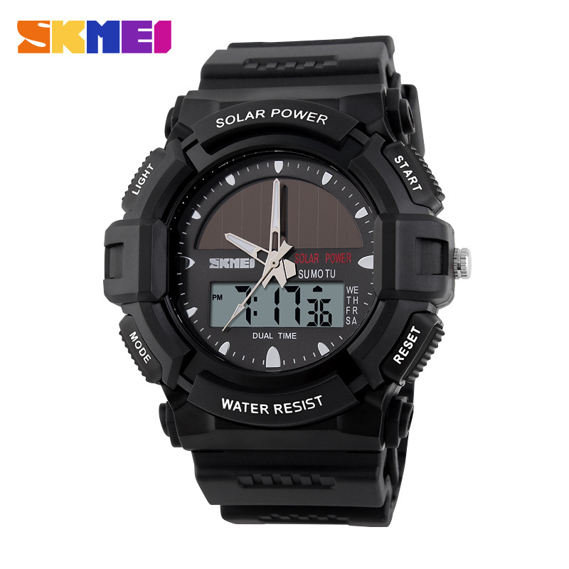 SKMEI Brand Solar Power Outdoor Sports Watches 2 Time Zone Digital Quartz Watch 50m Waterproof LED Dive Men Dress Wristwatches new sports watches men skmei brand dual time zone led quartz watch men waterproof alarm chronograph digital wristwatches