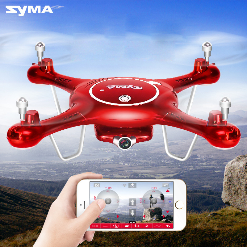 Syma x5uw zangão wifi câmera hd 720 p transmissão em tempo real fpv 2.4g 4ch rc helicóptero quadrocopter controle móvel vs x5sw x5c
