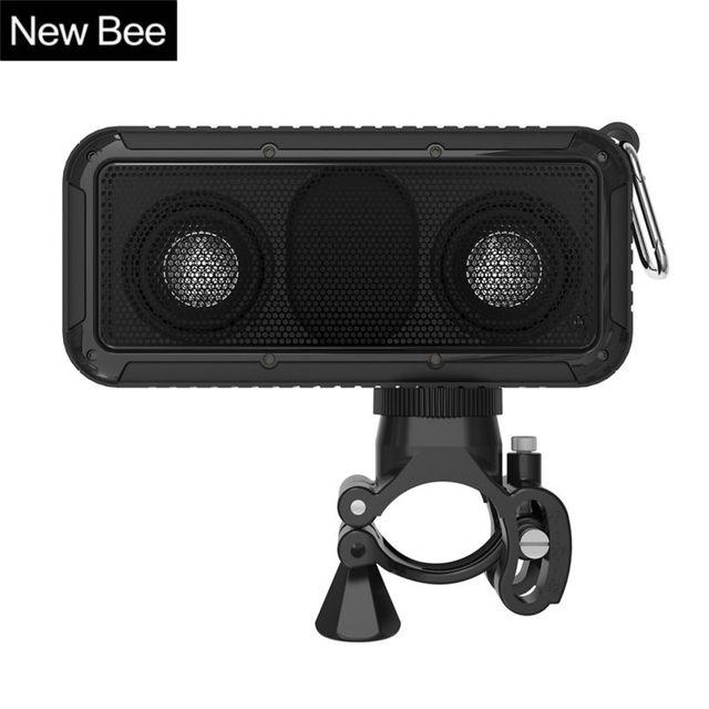 New bee portátil ao ar livre à prova d' água sem fio bluetooth speaker com microfone 3.5 jack nfc monte bicicleta lanterna led gancho