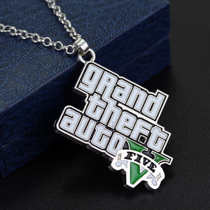Cool GTA 5 figurines PS4 Game Cs Necklace Grand Theft Auto 5 Pendent Necklaces For Robo Rock Collares Electronic Game Jewelry(China)