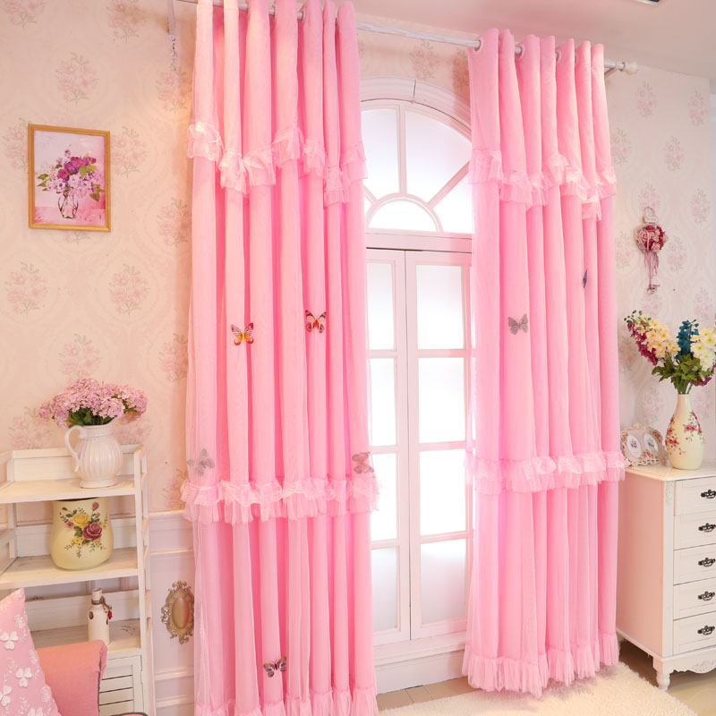 Pink White Lace Blackout Curtains For Living Room Luxury Solid Korean Style Curtains For Bedroom Baby