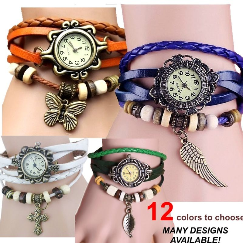 Prix pour 20 pcs Gnova Platine indien ethnique En Cuir Bracelets Montre papillon feuille eiifel étoiles de mer charme Vintage montre-bracelet en gros LOT