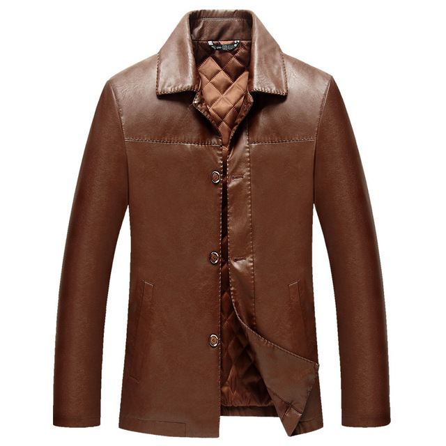 Male Leather Jackets And Coats Solid Brown Black Autumn Pu Leather Slim Turn Down Collar Plus Size 4Xl Fashion Men'S Clothing