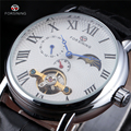 Fashion Casual New Forsining Luxury Roman Numeral Dail With Tourbillon Mens Wrist Watch Moon Phase Display Skeleton Watches Men