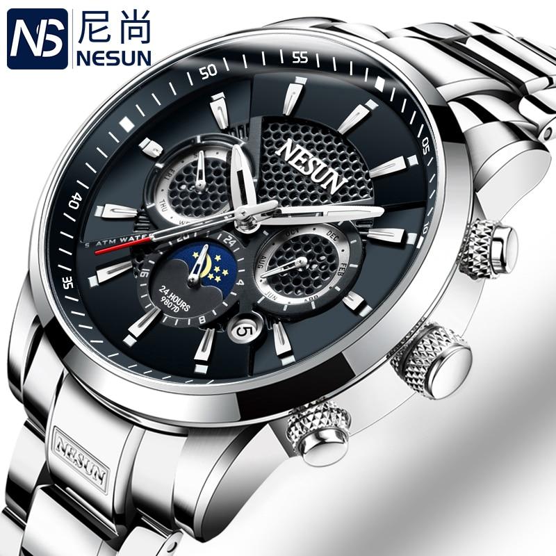Switzerland NESUN Luxury Brand Watches Men Multifunctional Display Automatic Mechanical Watch Luminous Waterproof clock N9807-3
