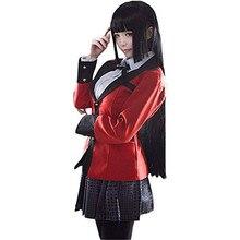 Halloween Cosplay kostiumy Anime Kakegurui Yumeko Jabami szkoły dziewczyny jednolite komplet kurtka + koszula + spódnica + pończochy + krawat + WigShoes