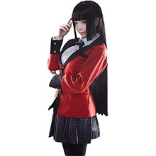Holloween קוספליי תלבושות אנימה Kakegurui Yumeko Jabami בית ספר בנות אחיד מלא סט מעיל + חולצה + חצאית + גרביים + עניבה + WigShoes