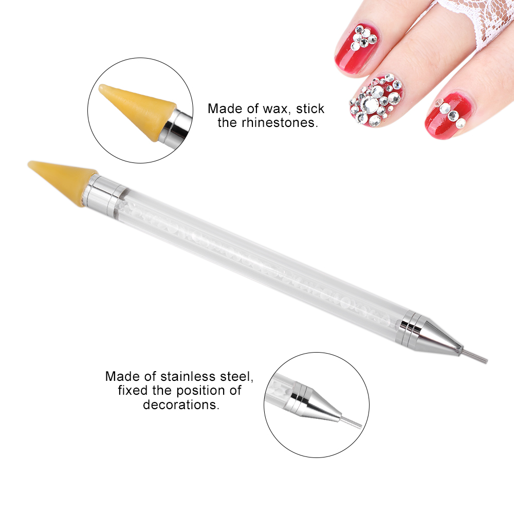 1pc Dual-ended Wax Rhinestone Nail Dotting Pen Self-adhesive Wax Head Tips Beads Gem Picker Wax Pencil Manicure Nail Pen Tool