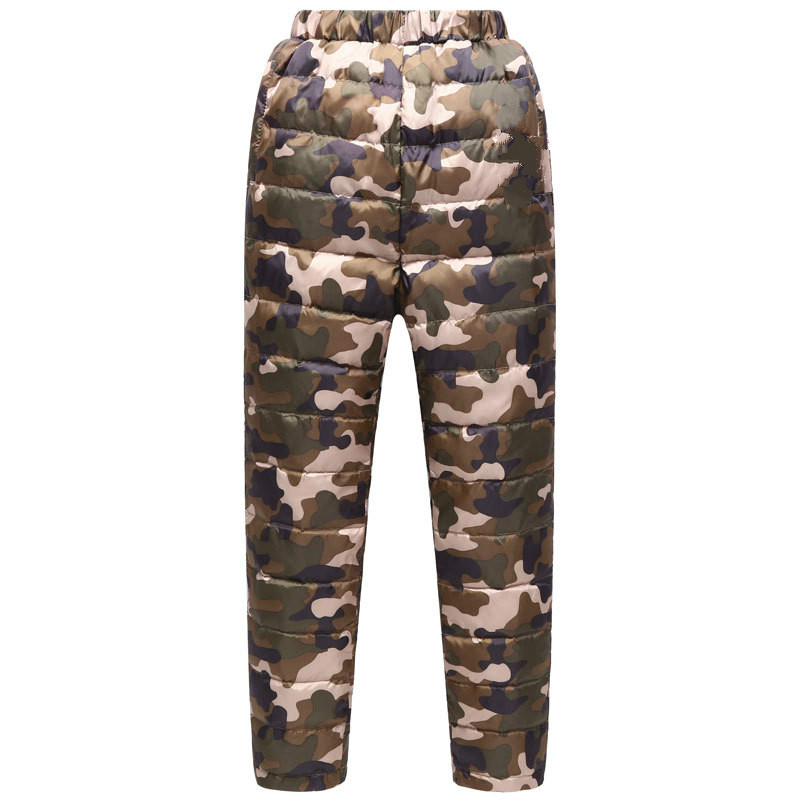 Winter New Childrens High Waist Camouflage Down Pants Boys and Girls Big Children Thick Warm Outside Wearing Liner Down PantsWinter New Childrens High Waist Camouflage Down Pants Boys and Girls Big Children Thick Warm Outside Wearing Liner Down Pants