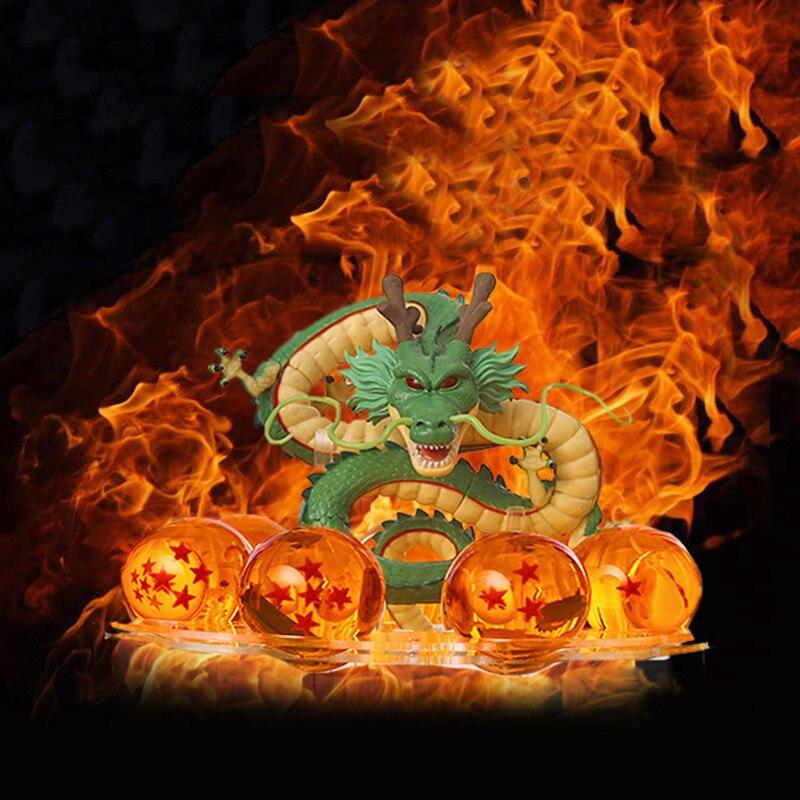 15cm dragão bola z figuras de ação shenron dragonball z figuras definir esferas del dragão 7 peças 3.5cm bolas prateleira estatuetas dbz presente