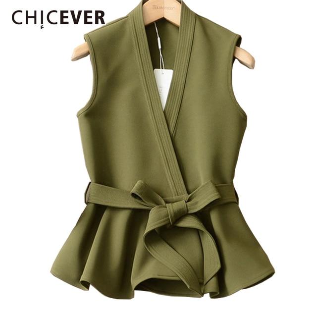 Autumn Vest Lace Up Ruffles Slim Sleeveless Plus Size Waistcoat
