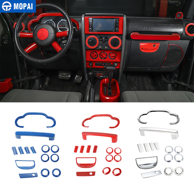 MOPAI Car Dashboard Steering Wheel Speaker Air Vent Interior Decoration Cover Kit for Jeep Wrangler JK 2007-2010 Car Accessories