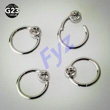 Anillo de titanio G23 para tabique nasal, Piercing para labio, pezón, 16G, Hélix, cartílago de oreja, Tragus, Stud, joyería para el cuerpo