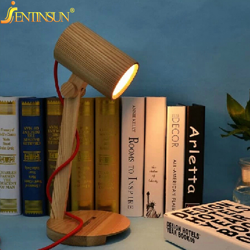 Decorative Table Lamp Vintage Wood Lamps Reading Study Living Room Bedroom Lighting 110-220V LED Student Desk Light Best Gift novelty magnetic floating lighting bulb night light wood color base led lamp home decoration for living room bedroom desk lamp
