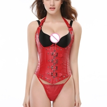 купить Wholesale Red Steampunk Leather Open Bra Corset Bustier Sexy Lingerie Hot Women Lace Up Faux Leather Gothic Corset Tops Thong дешево