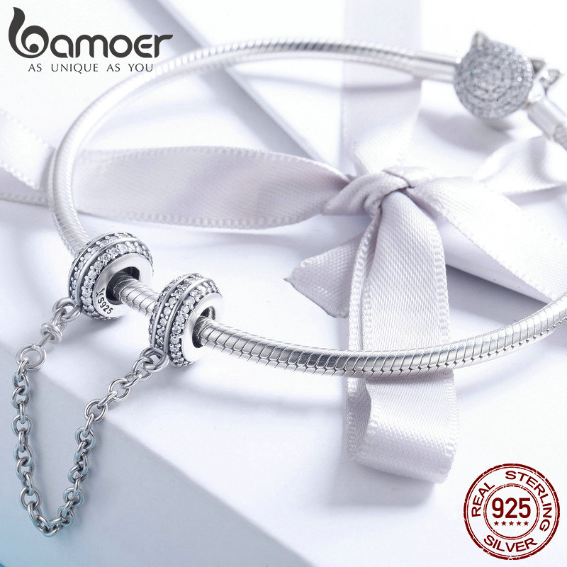 Image 2 - BAMOER New Collection 925 Sterling Silver Round Safety Chain Stopper Charm fit Women Bracelets DIY Jewelry Making Gift SCC812-in Charms from Jewelry & Accessories