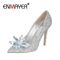 ENMAYER/женские свадебные туфли на высоком тонком каблуке с кружевами, украшенные стразами, туфли Золушки на платформе с украшением в виде бабо