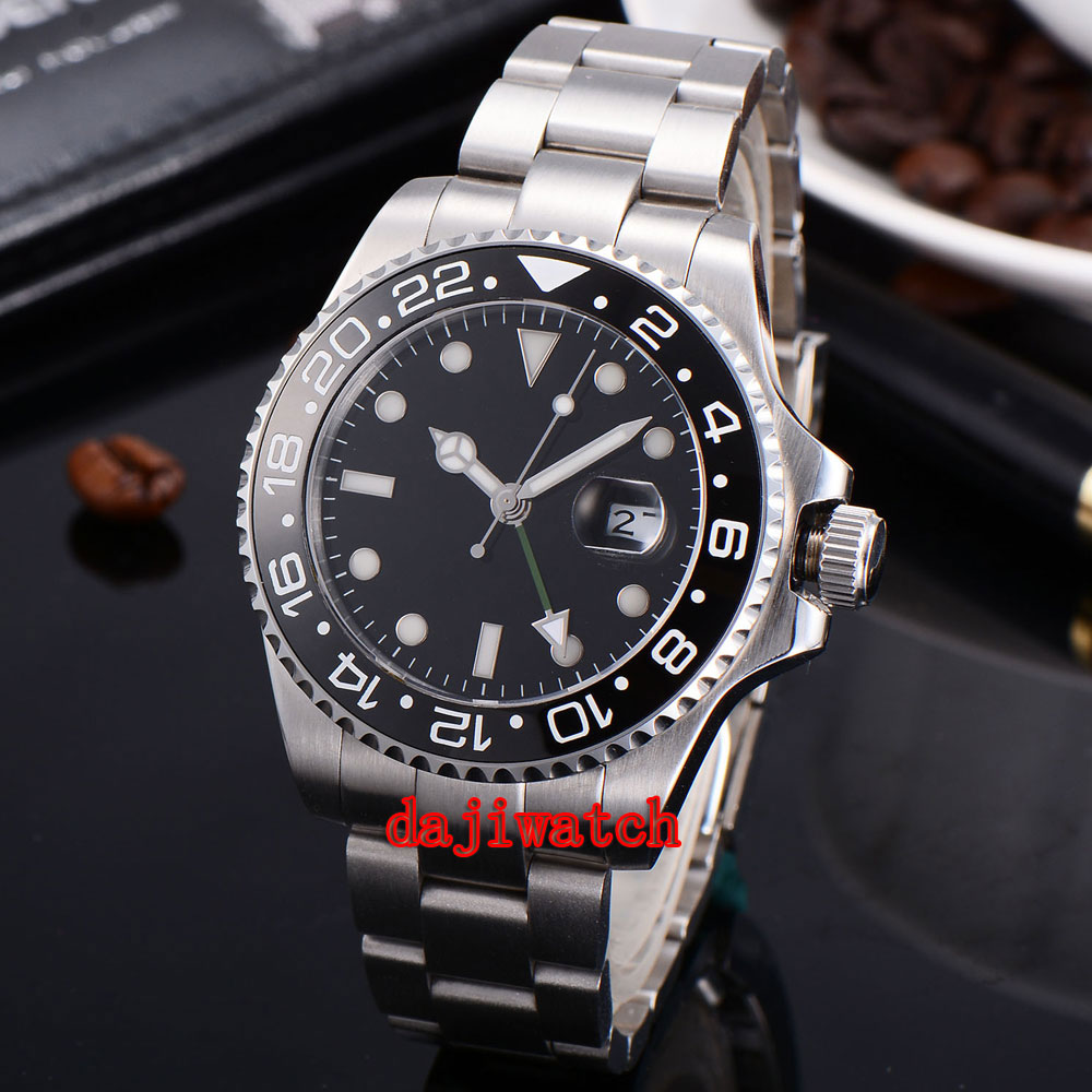 43mm black dial stainless steel case Sapphire crystal calendar GMT mechanical automatic mens watch men Dual time watch