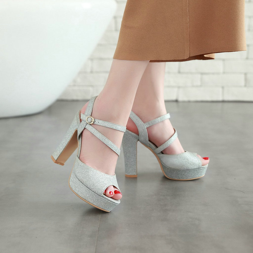 QUTAA 2018 Sexy Peep Toe Summer Women Pumps Fashion Square High Heel All Match Women Shoes Platform Women Pumps Size 34-43 19