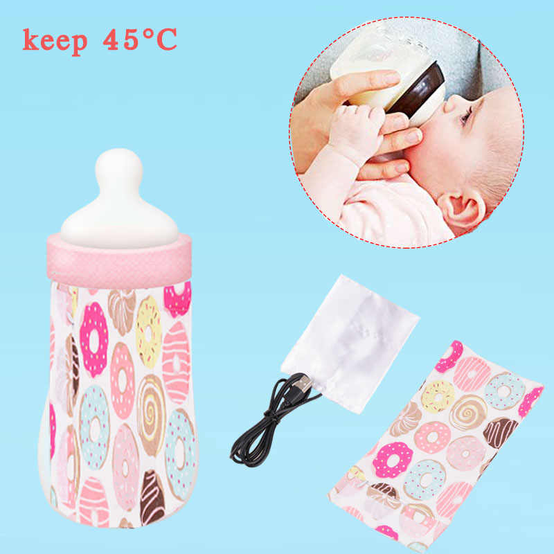 USB Baby Milk Warmer Bottle Keep Warm Outdoor Thermostatic Infant Feeding Bottle Heated Cover Insulation Bags Food Heater