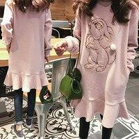 spring autumn maternity clothings long sleeves cotton three dimensional rabbit lotus leaf hem fashion pregnant dress